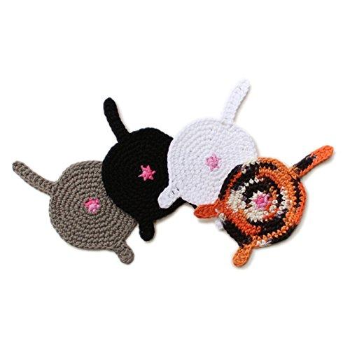 Crochet cat butt coasters by Geekirumi - Cotton yarn drink mats - Custom color set of 4