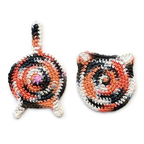 Crochet cat ear and butt coasters by Geekirumi - Cotton yarn drink mats - Custom color set of 2