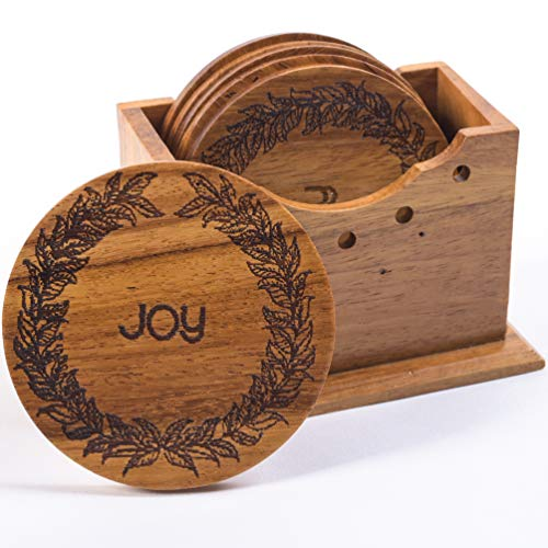 Wood Coasters Handmade Wood Drink Coasters with Holder Set of 6 Pieces 100 Natural Wooden Coasters For Drinks Absorbent with Holder Cup Coasters for Table Joy
