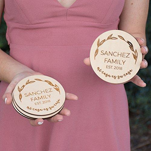 Personalized Coaster Set - Engraved Wood - Mi Casa Es Su Casa