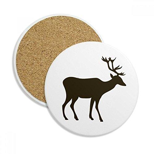 Black Deer Cute Animal Portrayal Ceramic Coaster Cup Mug Holder Absorbent Stone for Drinks 2pcs Gift
