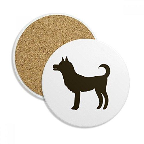 Black Dog Cute Animal Portrayal Ceramic Coaster Cup Mug Holder Absorbent Stone for Drinks 2pcs Gift