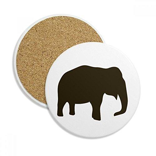 Black Elephant Cute Animal Portrayal Ceramic Coaster Cup Mug Holder Absorbent Stone for Drinks 2pcs Gift