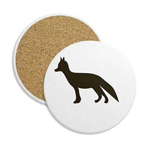 Black Fox Cute Animal Portrayal Ceramic Coaster Cup Mug Holder Absorbent Stone for Drinks 2pcs Gift