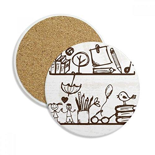 Children Cute Illustration Bookshelf College Stone Drink Ceramics Coasters for Mug Cup Gift 2pcs