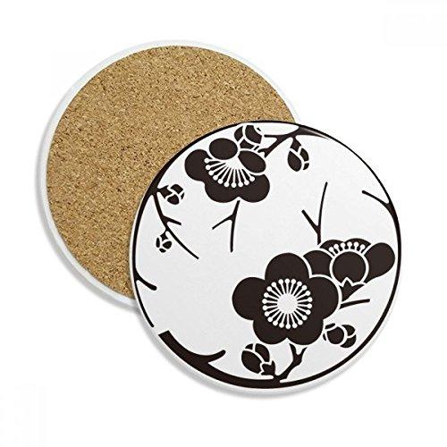 Japan Culture Cute Black Sakura Stone Drink Ceramics Coasters for Mug Cup Gift 2pcs