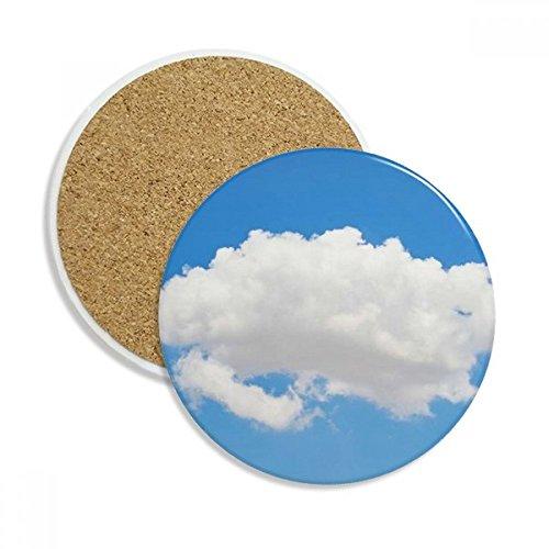 Blue Sky Sunshine White Clouds Ceramic Coaster Cup Mug Holder Absorbent Stone for Drinks 2pcs Gift