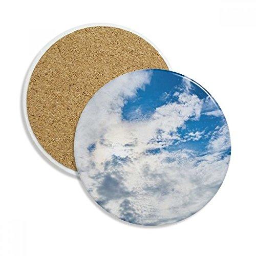 Dakr Blue Sky White Clouds Ceramic Coaster Cup Mug Holder Absorbent Stone for Drinks 2pcs Gift