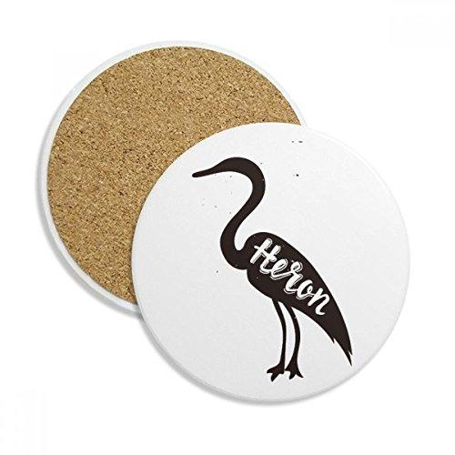 Grey Heron Black And White Animal Ceramic Coaster Cup Mug Holder Absorbent Stone for Drinks 2pcs Gift