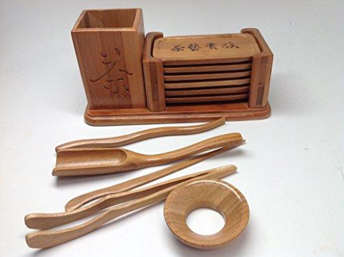 Gong Fu Tea Tools with 6 PCS Bamboo Coaster Jy2650