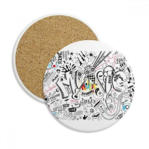 Graffiti Street Culture Music Sound Volume Stone Drink Ceramics Coasters for Mug Cup Gift 2pcs