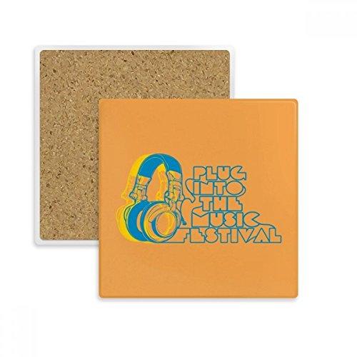 Headset Orange Music Pattern Square Coaster Cup Mug Holder Absorbent Stone for Drinks 2pcs Gift