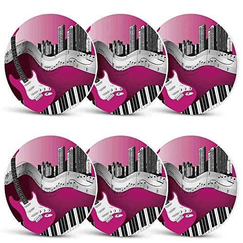 Music Drink CoastersBass Guitar Keyboard Urban Rock Backdrop Rhythm of City Illustration for Men Women Holiday PartySet of 6
