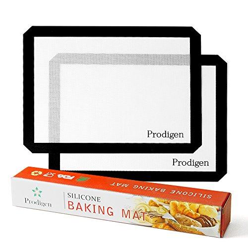 Prodigen 2 Premium Pieces Silicone Baking Mat Non Stick Silicone Mats Reusable Kitchen Cooking Oven Baking Mats for MacaronPastryCookieBunBread Making(11x16-INCH2-Piece)