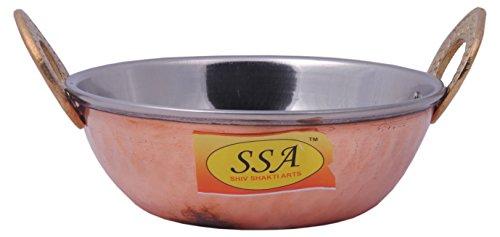 SHIV SHAKTI ARTS Handmade Pure Steel Copper KadaiBowlHandi No 2 Volume500 ml Homeware Dinnerware Hotelware For Serving Dal  Sabji and Curry Purpose