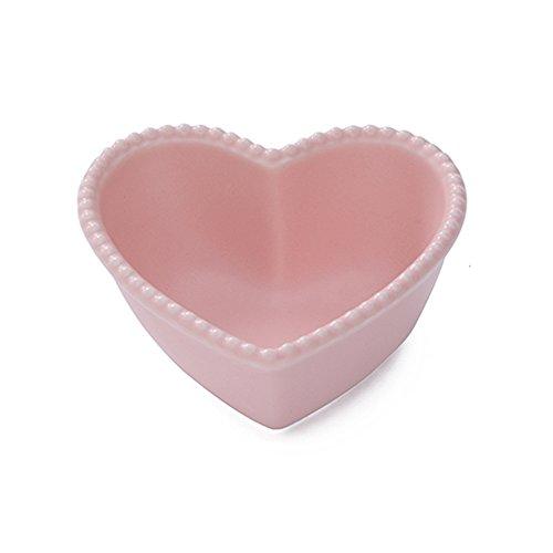 CHOOLD Ceramic Heart-Shaped Pudding Bowl Baked Soufflé Bowl Dessert Bowl Oven Bowl Creme Brulee Ramekin Souffle Ramekinpinkwhite