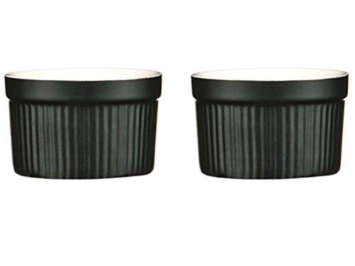 Kabalo Souffle Dessert Pudding Snack Muffin Cupcake Crème Brulee Bowl Set Of 2 Black Kitchen Ceramic Ramekin Dish