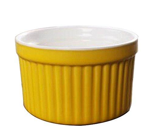 Set of 4 Ceramic Dessert Bowls Ramekins Souffle Baking Cups Yellow