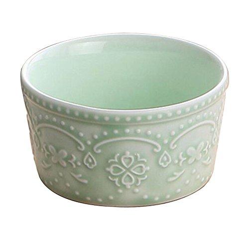 Set of 4 Creative Ceramic Dessert Bowls Ramekins Souffle Baking Cups Green
