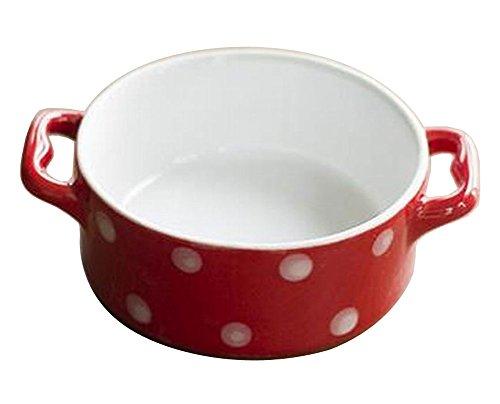 Set of 4 Cute Ceramic Dessert Bowls Ramekins Souffle Baking Cups Dot