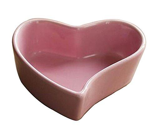 Set of 4 Cute Ceramic Dessert Bowls Ramekins Souffle Baking Cups Heart Pink