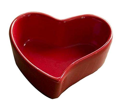 Set of 4 Cute Ceramic Dessert Bowls Ramekins Souffle Baking Cups Heart Red