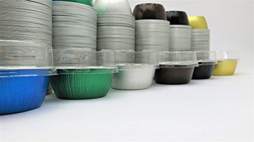 KitchenDance Disposable Aluminum 4 oz Ramekins- Color Lid Options With Flat Lid Chocolate