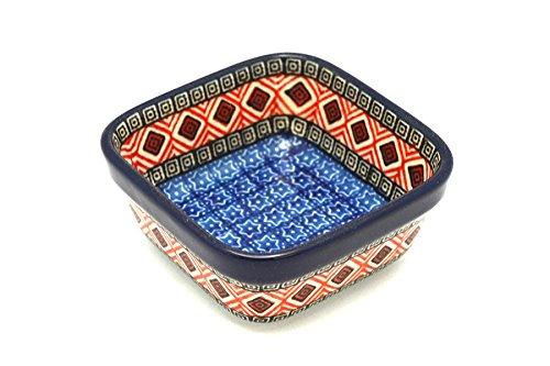 Polish Pottery Ramekin - Square - Aztec Sun