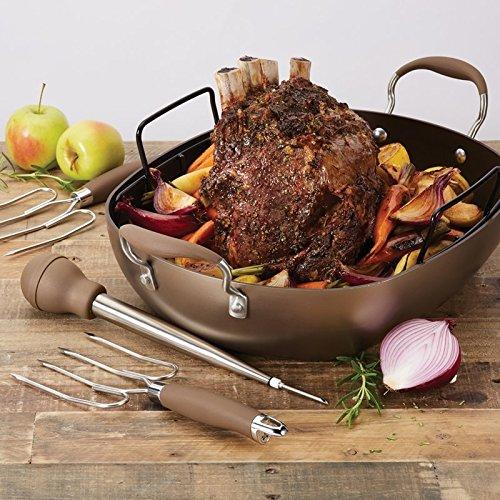 New 5 Piece Kitchen Bronze Rectangular Non Stick Roaster Turkey Grill Fry Pan Set