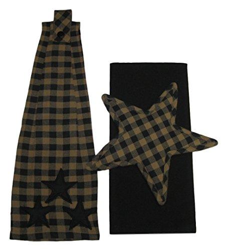 Black Tan Plaid Button Loop Hanging Towel with Star Shaped Trivet and Black Dish Towel Set Bundle 3 Items