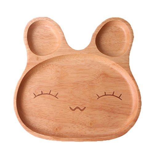 Kawaii Cartoon Rabbit Face Wood Dinner Plate Cute Animal Pattern Food Fruits Dish Wooden Service Plate Kids Wood Dining Tray B