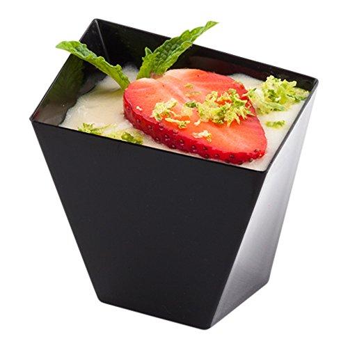 Plastic Dessert Dish Fruit Dish Snack Dish - Premium Plastic - 2 x 2 - 2 oz - Black - Girata - 100ct Box - Restaurantware