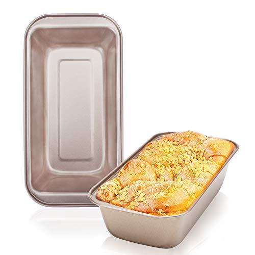 Loaf Pans for Bread Baking Beasea 2pcs Nonstick Bread Pans 9 x 5 Inch Loaf Bakeware Golden Loaf Baking Pans Carbon Steel Bread Loaf Pans