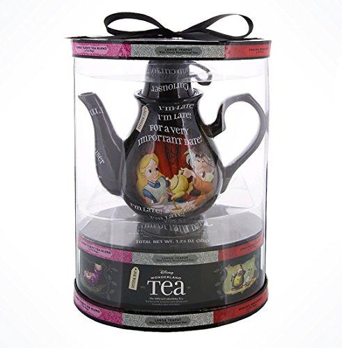 Disney Parks Alice Wonderland Tea Pot Gift Set With Flavored Teas