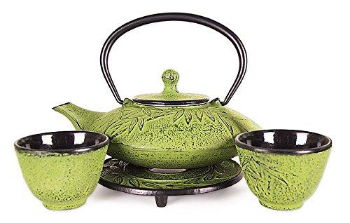 Happy Sales HSCT-MBY08 Cast Iron Tea Pot Tea Set Mochi Bamboo Med Green