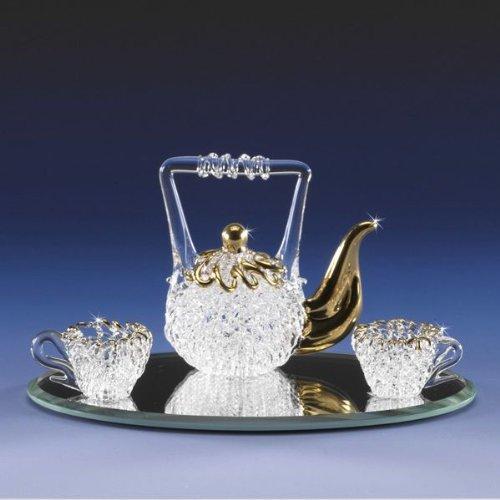 Miniature Spun Glass Tea Pot Set Lacework Spun Crystal 22K Gold Sparkles