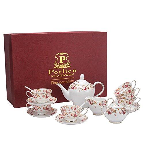 Porlien Tea Set Red Camellia Porcelain Teapot Teacups Gift Set Service for 6