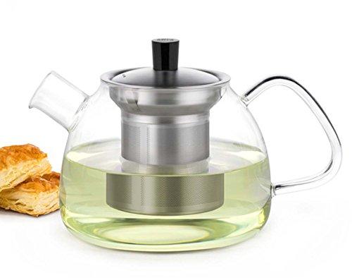 Bekith Glass Teapot with Stainless Steel Infuser 30 Oz Loose Leaf Tea Pot Borosilicate Glass Tea Kettle