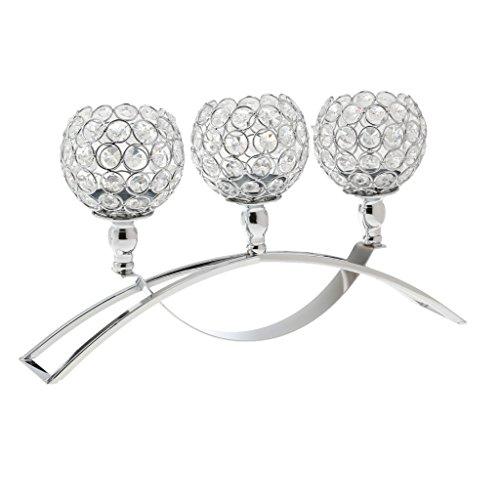 Homyl 165 Large Romantic Glass Crystal Globe Tealight Votive Candle Holder Wedding Centerpiece Candlestick Holder - Silver 42x23cm