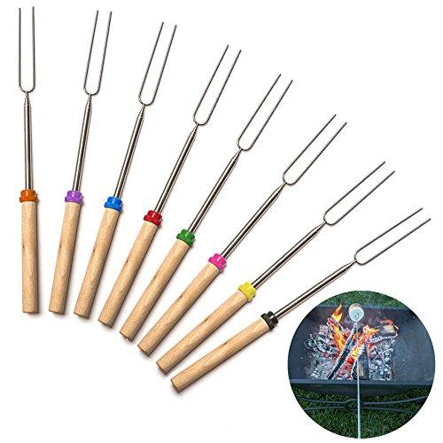 Lautechco 8pcs Marshmallow Roasting Sticks Telescoping BBQ Skewers Forks Random Color