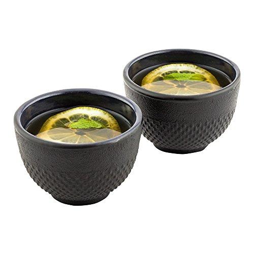 Cast Iron Tea Cups Tetsubin Hobnail Black Cast Iron Tea Cups - 5 oz - 2ct Box - Restaurantware