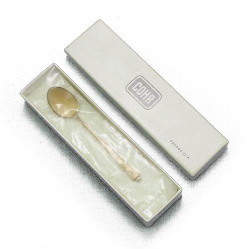 Demitasse Spoon by Cohr Sterling Yellow Enamel wGilt