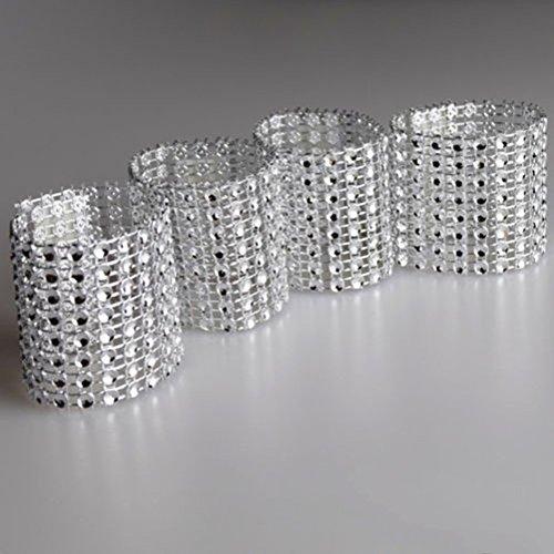 Hapwedding Rhinestone Napkin Rings for WeddingParty and Festival DecorationSilver100PCS