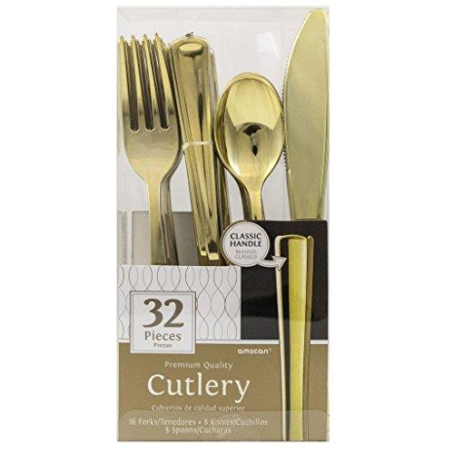 JAM Paper Premium Utensils Party Pack - Assorted Cutlery Set - Metallic Gold - 32 Disposable UtensilsBox