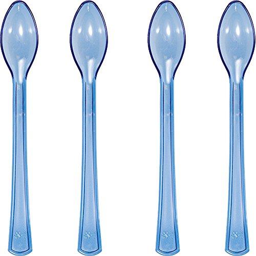 Creative Converting 144-Count Translucent Mini Plastic Spoons Blue