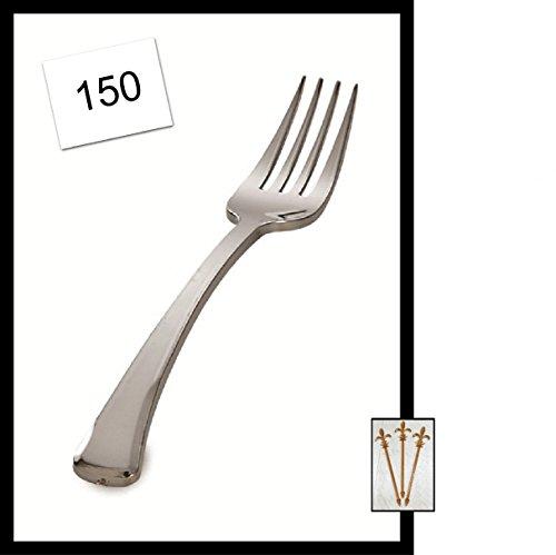150 count Silver Plastic Forks Silver Secrets wSignature Party Picks