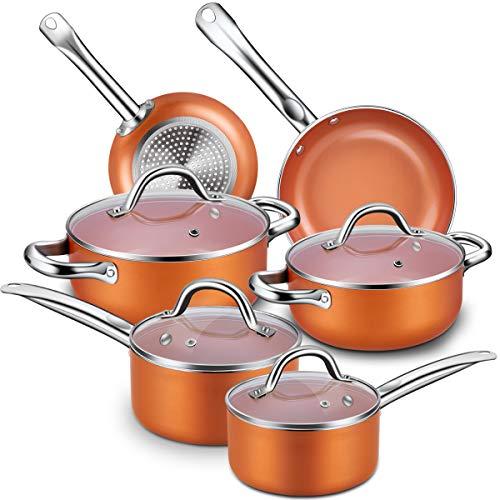 Nonstick Cookware Set CUSINAID 10-Piece Aluminum Cookware Sets Pots and Pans Set Fry Pan Sauce Pan Stock Pot with Glass Lids for StovetopsInduction Cooktops DishwasherOven SafeCopper