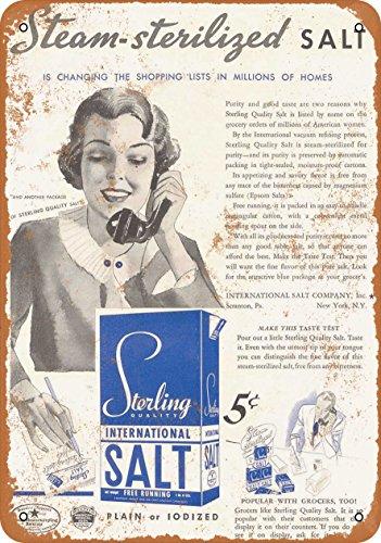 Wall-Color 9 x 12 Metal Sign - 1935 Sterling Salt - Vintage Look