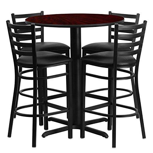 Flash Furniture 30 Round Mahogany Laminate Table Set with 4 Ladder Back Metal Barstools - Black Vinyl Seat