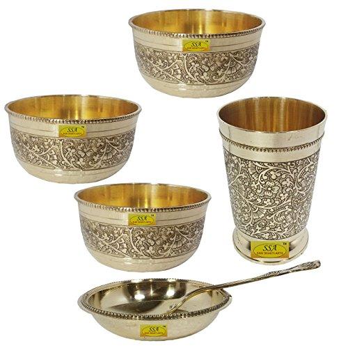 SHIV SHAKTI ARTS Handmade Pure Brass Embossed Designer Dinnerware Combo Of 3 Brass Katori 1 Halwa Plate 1 Spoon 1 Glass For Serving Purpose Hotelware Dinnerware